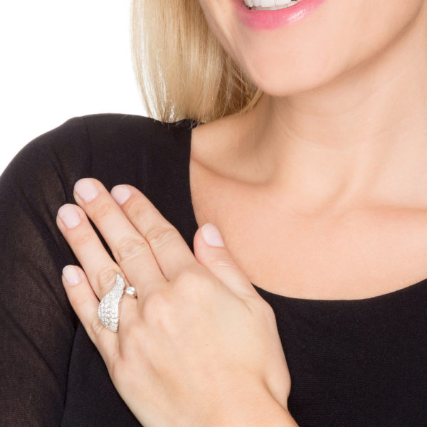 Silver pink angel wing ring 4
