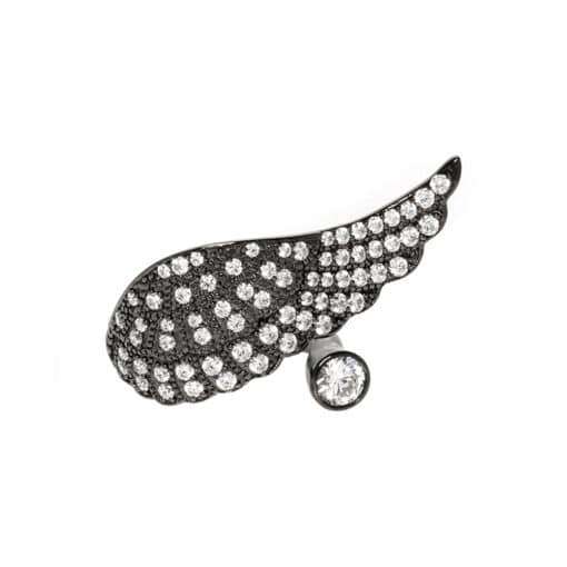 Black angel wing ring silver 3
