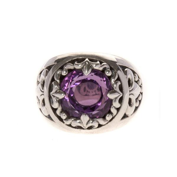 戒指男子颜色紫水晶岩石银神圣联盟1