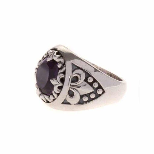 Amethist kleur rock union ring zilver heilig 4