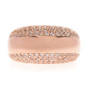 Bague anneau simple serti deux faces rose 6