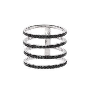 银戒指4闪亮的铑和黑戒指3