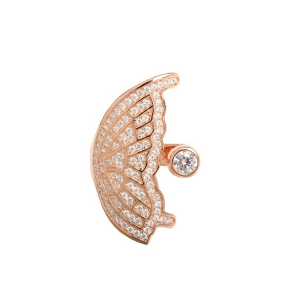 Silver ring butterfly wing pink 3
