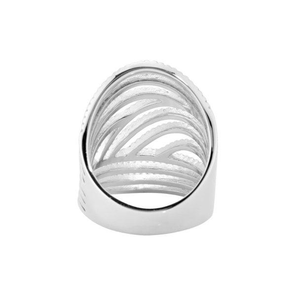 Round silver rhodium ring 6