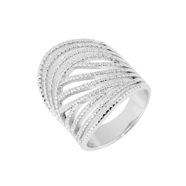 Round silver rhodium ring 3