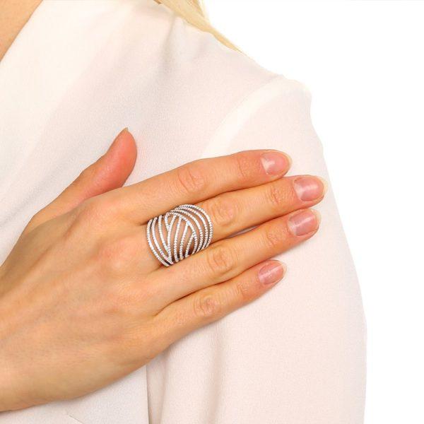 Round silver rhodium ring 4