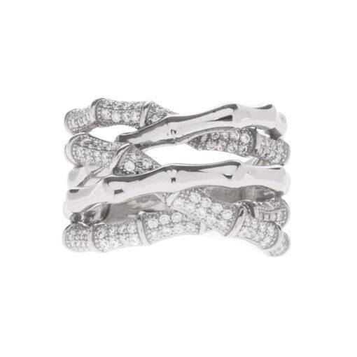 Silver rhodium crossed bamboo ring 3