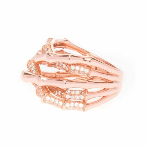 Silver ring bamboo crossed pink 4