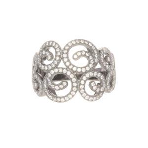 镀铑闪闪发光巴洛克式银戒指7