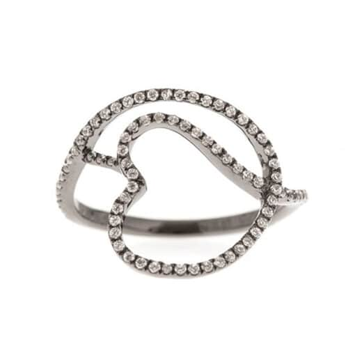 Silver ring black entwined heart 3