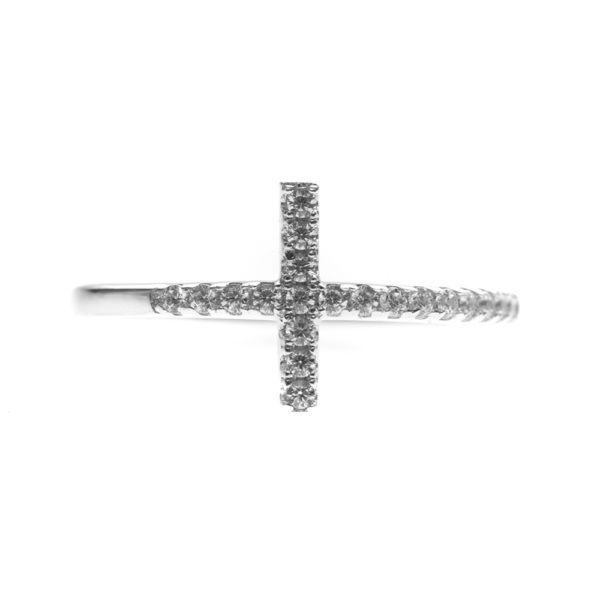 Silver ring with paved cross 3