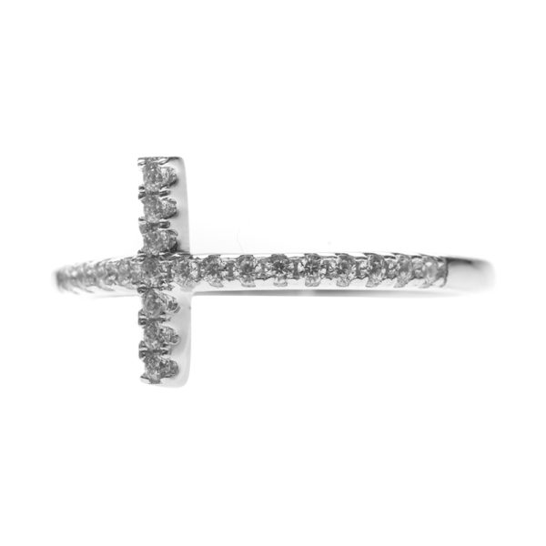 Silver ring with paved cross 4