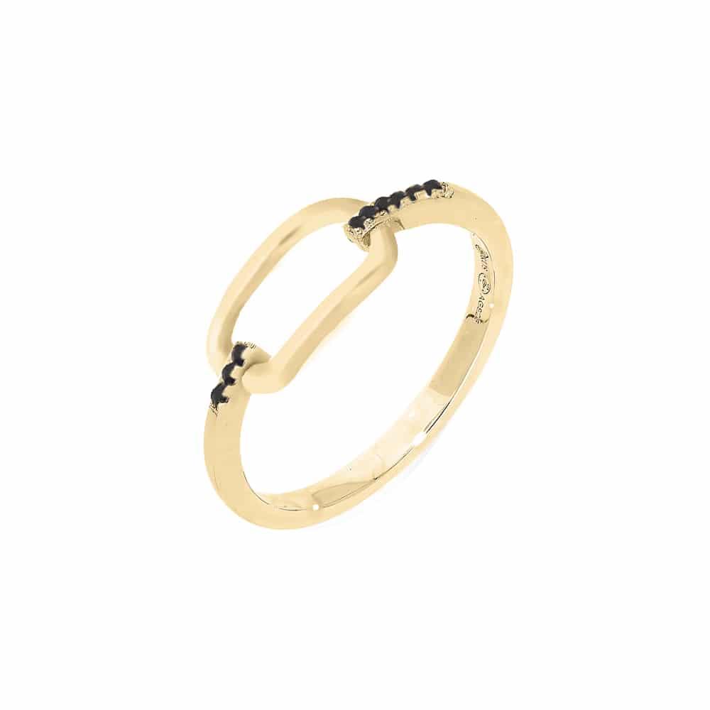 Bague argent doré simple olga zirconium noir 3