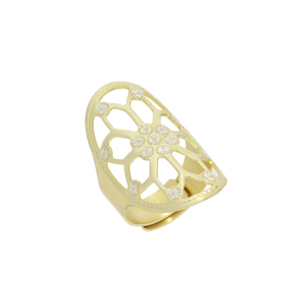 Adjustable laser cut flower gold silver ring 3