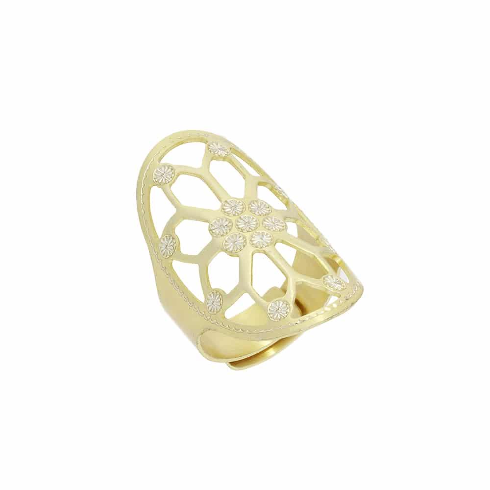 Bague argent doré fleur découpe laser ajustable 1