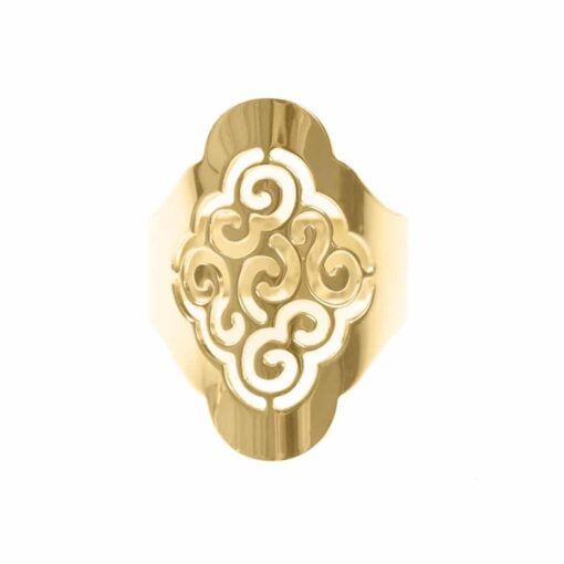 Silver golden sand flower adjustable laser cut ring 3