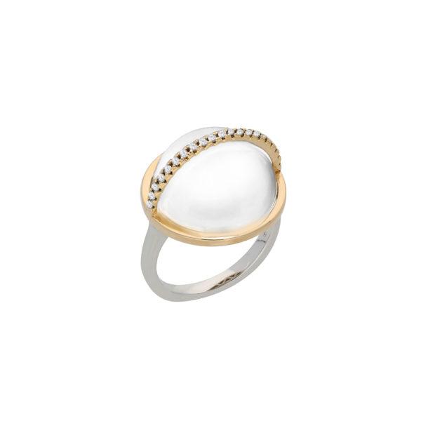 Bague argent doré sphere blanche 1