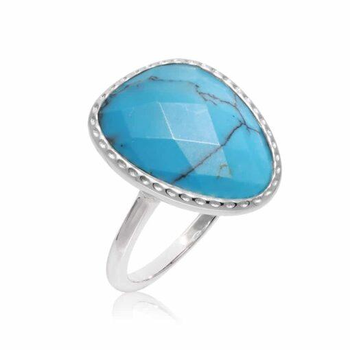 Victoria kristal turkoois zilveren ring 3