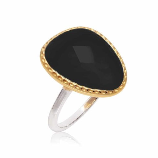 Silver ring victoria black crystal 3