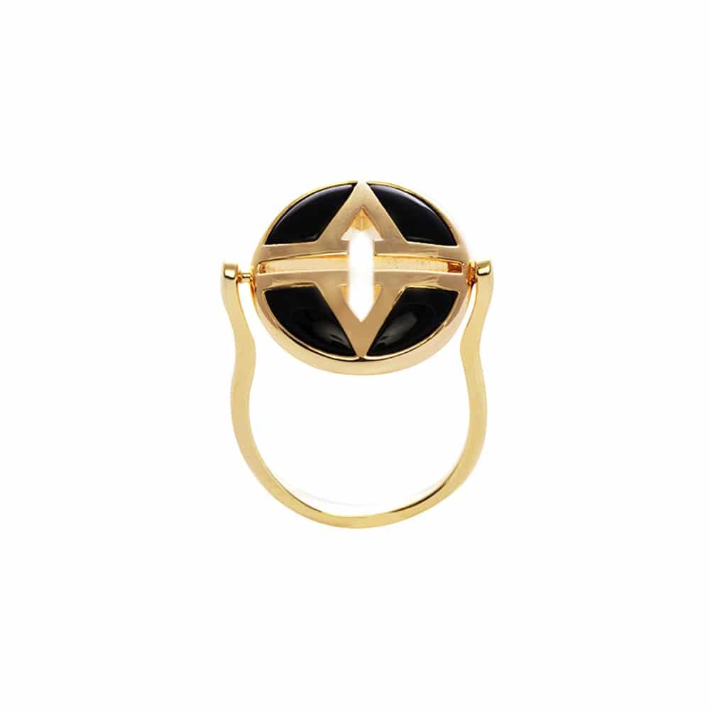 Bague argent doré virgin pierre onyx 3