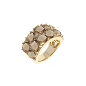 金银戒指,配棕色巴洛克式宝石7
