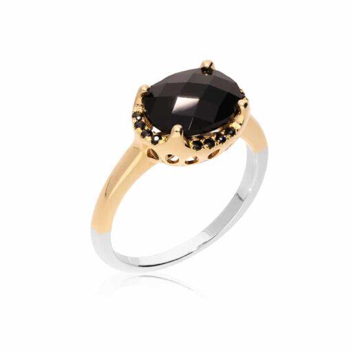 Bague argent dorée solitaire serti pierre noire 3