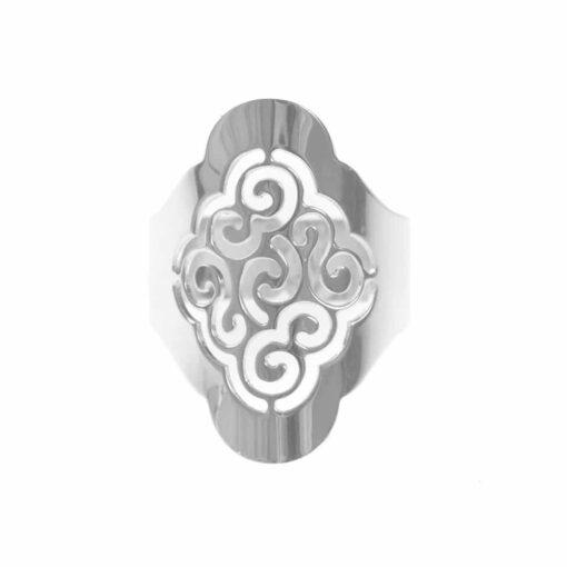 Silver sand flower ring adjustable laser cut 3