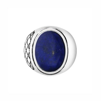 silver ring with lapis for men front view