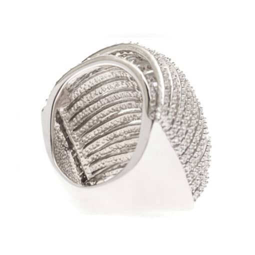 Multi-ring curved silver ring 5