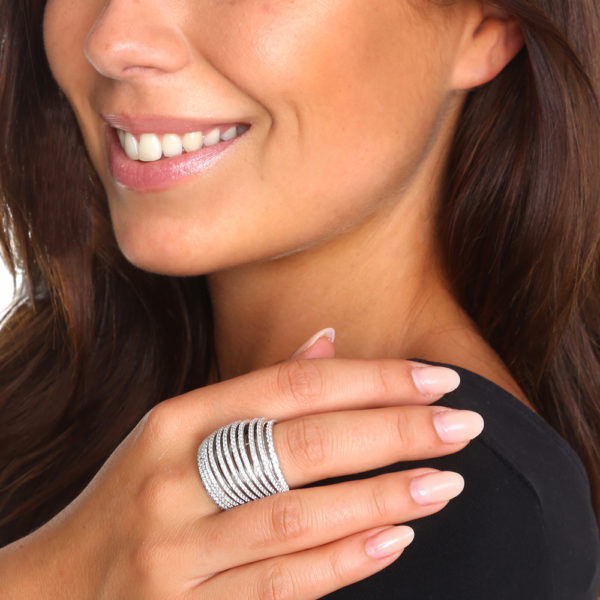 Multi-ring curved silver ring 3