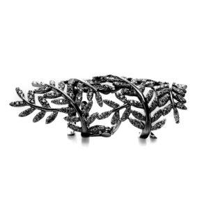 黑银铰接神圣树叶戒指3