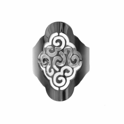 Black silver sand flower ring adjustable laser cut 3