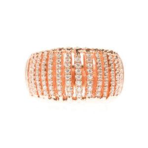 粉红银通道戒指镶有白色宝石6