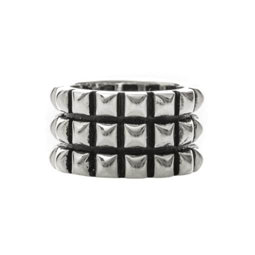 Silver punk ring with geometric patterns 3