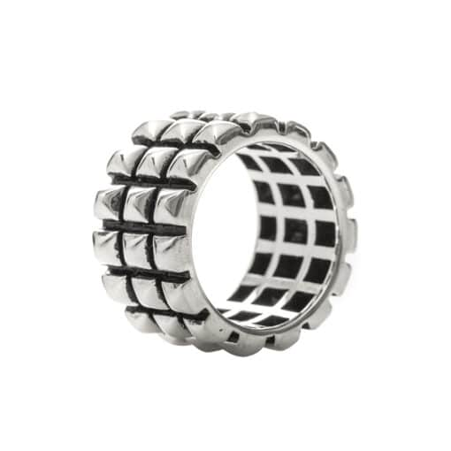 Silver punk ring with geometric patterns 4