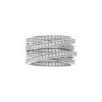 Bague argent rhodié enlacée anneaux serties 4