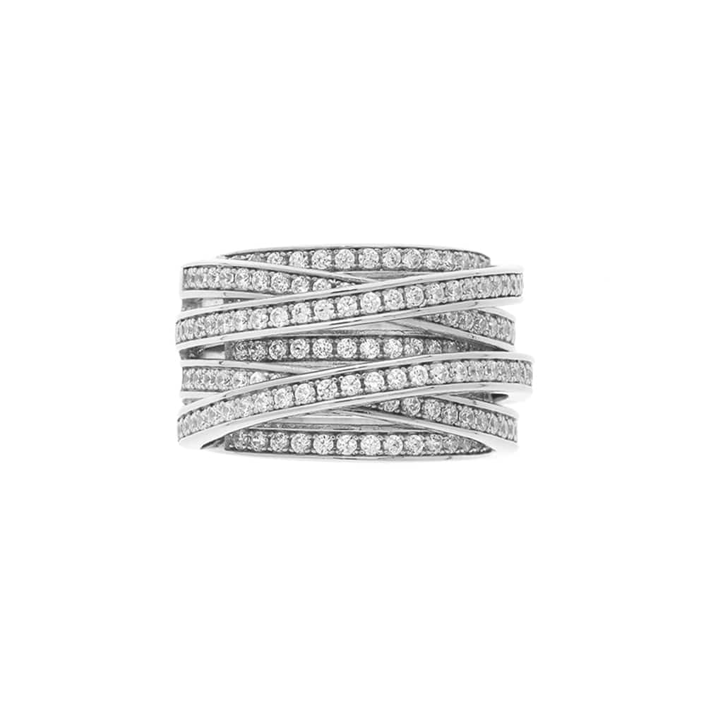 Bague argent rhodié enlacée anneaux serties 3