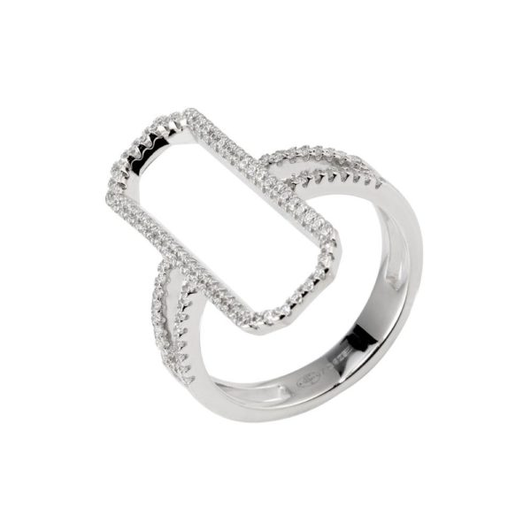 Modern rectangle rhodium silver ring set with 3
