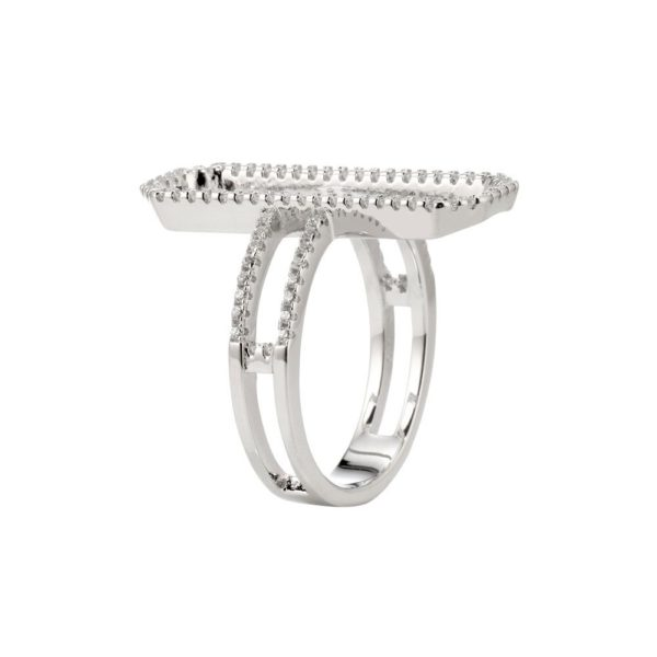 Modern rectangle rhodium silver ring set with 5