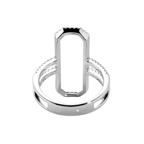 Modern rectangle rhodium silver ring set with 4