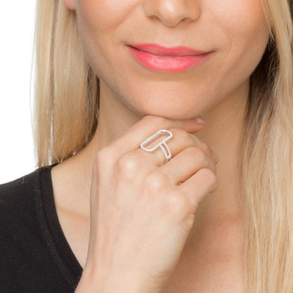 Modern rectangle rhodium silver ring set with 6