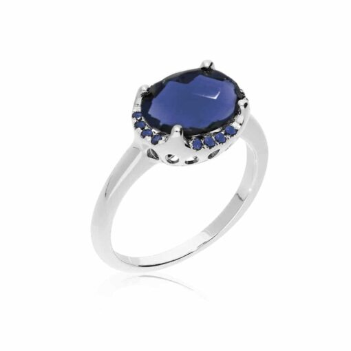 Solitaire rhodium silver ring set with blue stone 3