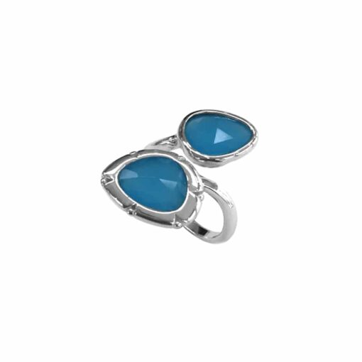 Rhodium silver ring you and me blue oval 3