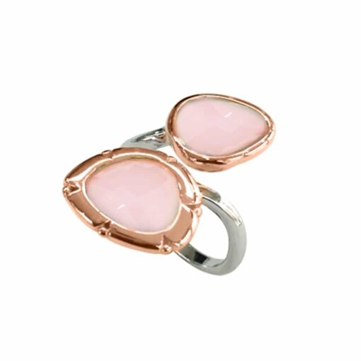 Ring silver rhodium you and me oval pink 3