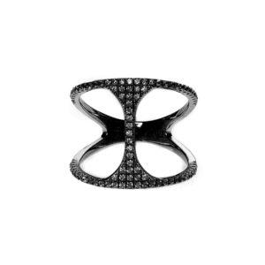 圆形银戒指双环黑色4