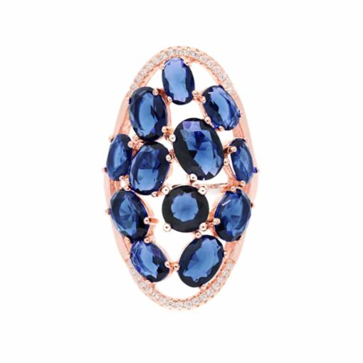 Asymmetrical pink silver ring navy blue stones 3