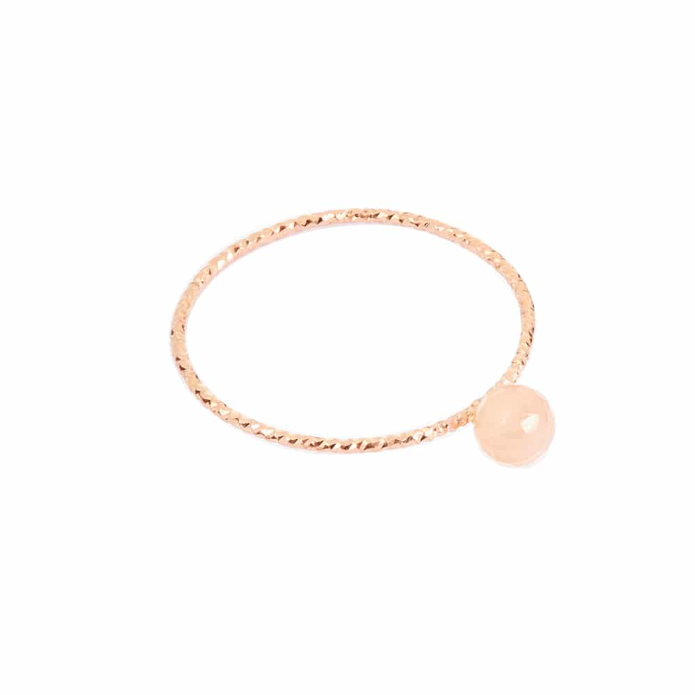 Bague argent rose perle fixe pierre de lune 3