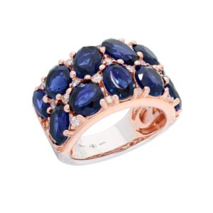 Bague argent rose pierres baroques marine 3