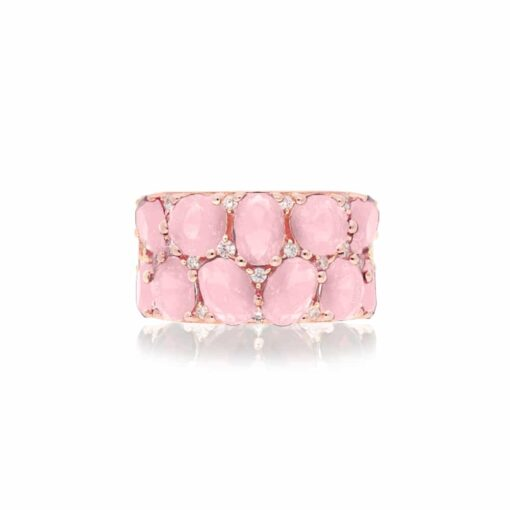 Pink silver ring with pink baroque stones 5