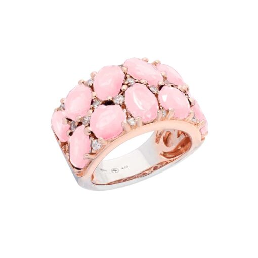 Pink silver ring with pink baroque stones 3